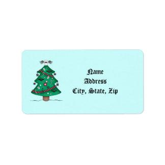 かわいいゴシック様式クリスマスツリーは感謝していしています ラベル