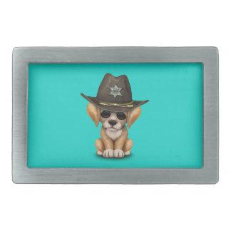 かわいいゴールデン・リトリーバーの小犬の保安官 長方形ベルトバックル