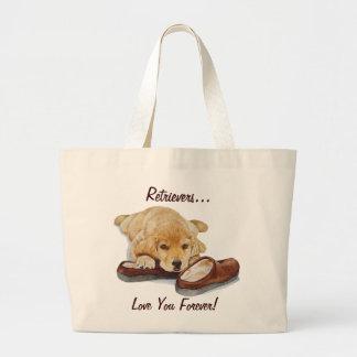 かわいいゴールデン・リトリーバーの小犬愛スローガン ラージトートバッグ