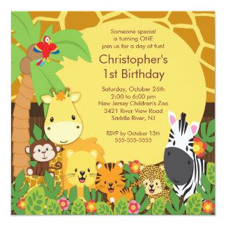 かわいいサファリのジャングルのバースデーパーティ招待状 カード