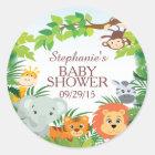 かわいいサファリのジャングルのベビーシャワーの好意のステッカー ラウンドシール