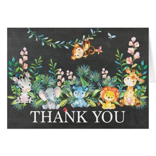 かわいいサファリのジャングルのベビーシャワーはノート感謝していしています カード
