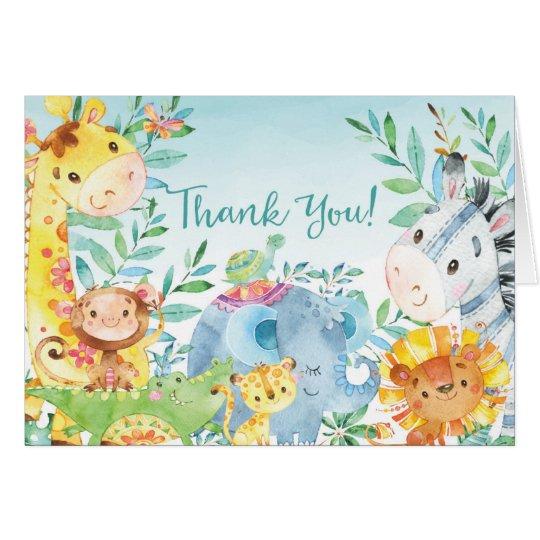 かわいいサファリのジャングルのベビーシャワーはノート感謝していしています ノートカード