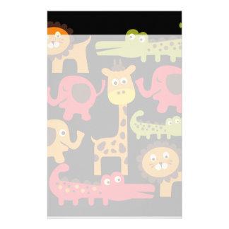 かわいいサファリのジャングルの動物園動物のプリントのギフト 便箋