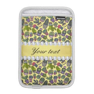 かわいいサボテンの模造のな金ゴールドホイルのきらきら光るなダイヤモンド iPad MINIスリーブ