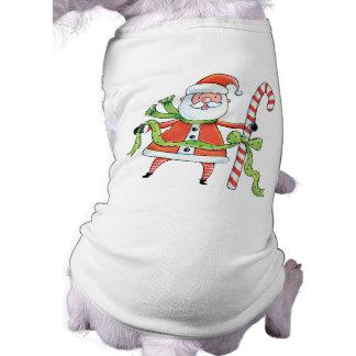 かわいいサンタのクリスマス犬のTシャツ ペット服