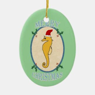 かわいいサンタのタツノオトシゴのクリスマスの青緑 セラミックオーナメント