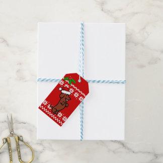 かわいいサンタのダックスフントのクリスマス ギフトタグ