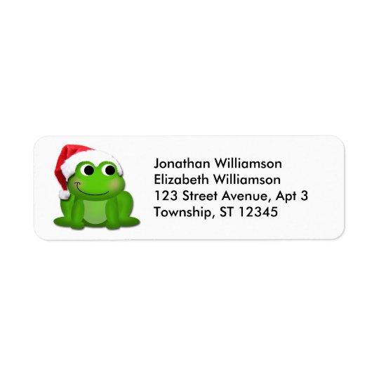 かわいいサンタの帽子のカエルのクリスマスの差出人住所ラベル 返信用宛名ラベル