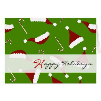 かわいいサンタの帽子及びキャンディ・ケーンの幸せな休日-緑 カード
