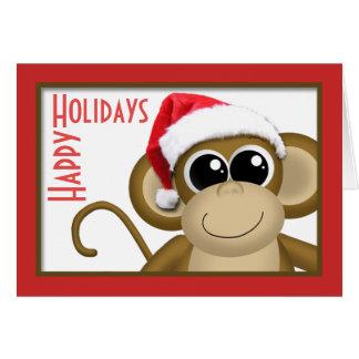 """かわいいサンタの帽子猿の""""幸せな休日""""カード グリーティングカード"""