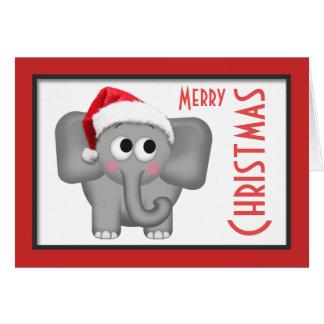 """かわいいサンタの帽子象の""""メリークリスマス""""カード カード"""