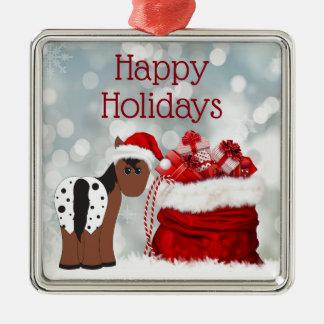 かわいいサンタの馬nのギフトの幸せな休日のクリスマス メタルオーナメント