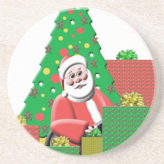 かわいいサンタクロースのクリスマスツリー及びプレゼント コースター