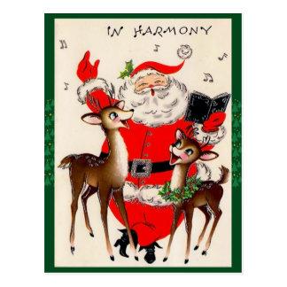 かわいいサンタ歌うクリスマスの郵便はがき ポストカード