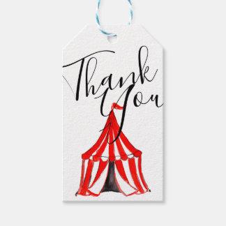 かわいいサーカスのテントのカーニバルの子供のパーティーはラベル感謝していしています ギフトタグ