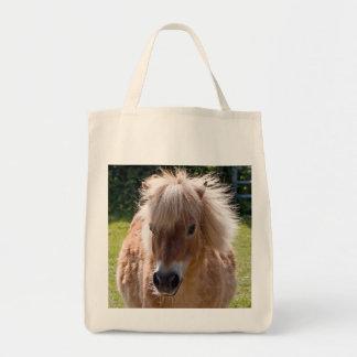 かわいいシェトランド諸島子馬の頭部のクローズアップのトートバック、ギフト トートバッグ