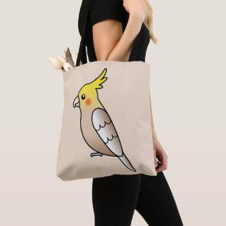 かわいいシナモンのCockatielの漫画の鳥のイラストレーション トートバッグ