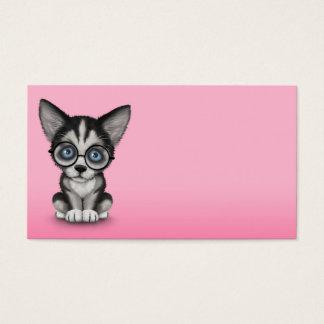 かわいいシベリアンハスキーの子犬身に着けているガラスのピンク 名刺