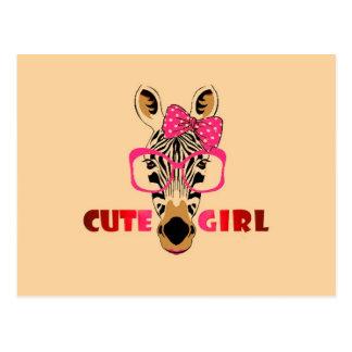 かわいいシマウマはかわいい女の子を知っています; 漫画及びスローガン ポストカード