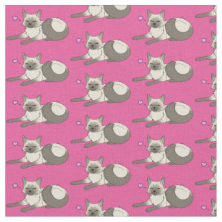 かわいいシャムの子猫の生地 ファブリック