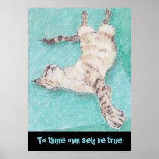 かわいいシャム猫のスケッチの引用文シェークスピア ポスター