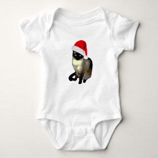 かわいいシャム猫の醜いクリスマスの子猫 ベビーボディスーツ
