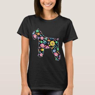 かわいいシュナウツァーの花柄 Tシャツ