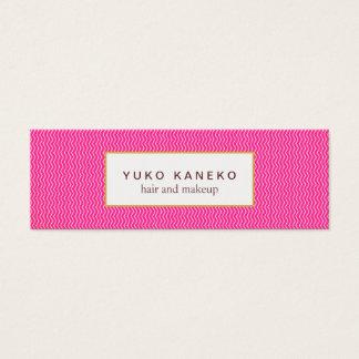 かわいいショッキングピンクの微妙なシェブロンパターン美しい スキニー名刺