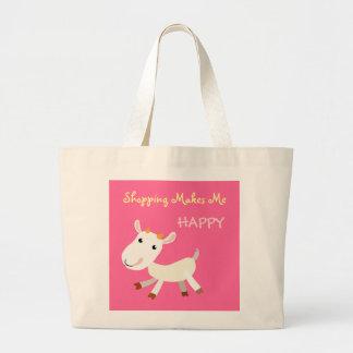 かわいいショッピングは私に幸せなヤギのトートバックをします ラージトートバッグ
