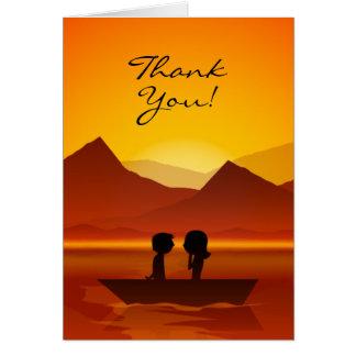 かわいいシルエットのカップルの船遊び山は感謝していしています カード