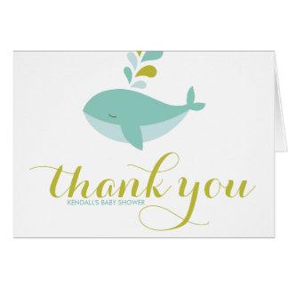かわいいシロナガスクジラのベビーシャワーはメッセージカードII感謝していしています カード