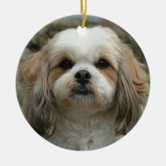 かわいいシーズー(犬)のTzuのクリスマスのオーナメント セラミックオーナメント