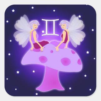 かわいいジェミニ(占星術の)十二宮図 スクエアシール