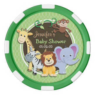 かわいいジャングルのベビーシャワー; 若草色の楕円形 ポーカーチップ