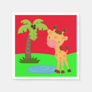 かわいいジャングルサファリのキリン スタンダードカクテルナプキン
