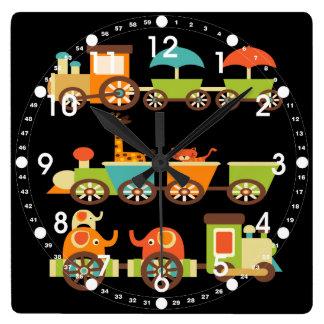 かわいいジャングルサファリ動物の列車のギフトの子供のベビー スクエア壁時計
