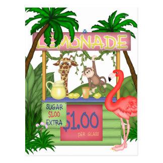 かわいいジャングル動物のレモネード立場の郵便はがき ポストカード