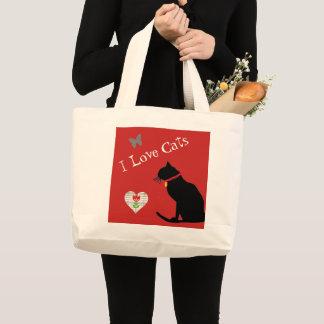 かわいいジャンボ猫の赤と白の写実的なトート ラージトートバッグ