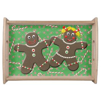 かわいいジンジャーブレッドのカップル愛ジンジャーブレッドのクッキー トレー