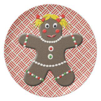 かわいいジンジャーブレッドの女の子のクリスマスのプレート プレート