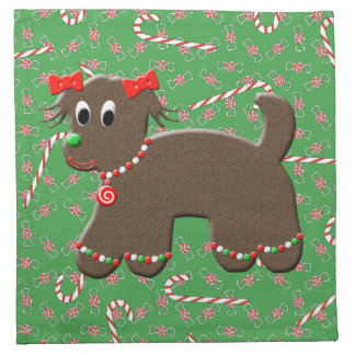 かわいいジンジャーブレッドの小犬のクッキーのクリスマスキャンデー ナプキンクロス