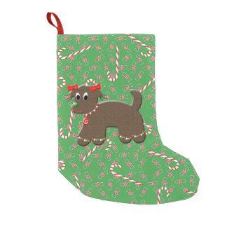 かわいいジンジャーブレッドの小犬のクッキーキャンデーのクリスマス スモールクリスマスストッキング