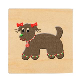 かわいいジンジャーブレッドの小犬の休日のクリスマス ウッドコースター