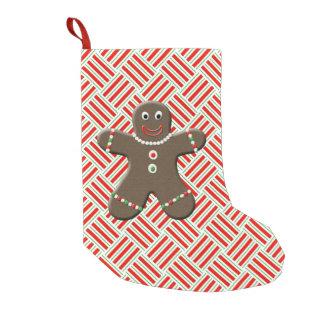 かわいいジンジャーブレッドの男の子の人のクリスマスのお祝いの赤 スモールクリスマスストッキング