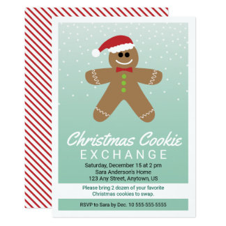 かわいいジンジャーブレッドマンのクリスマスのクッキー交換 カード