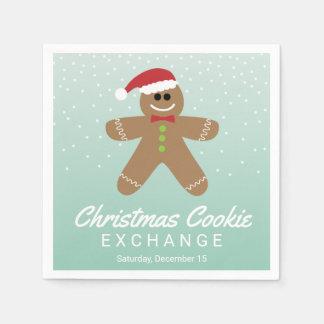 かわいいジンジャーブレッドマンのクリスマスのクッキー交換 スタンダードカクテルナプキン