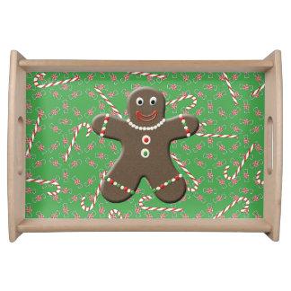 かわいいジンジャーブレッドマンの男の子のクッキーのクリスマスキャンデー トレー