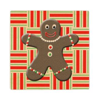 かわいいジンジャーブレッドマンの男の子のクリスマスの休日 ウッドコースター