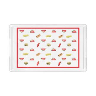 かわいいスイカ、ハンバーガー、ホットドッグ、トウモロコシのサービング アクリルトレー